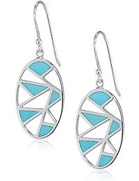 Elements Silver E4570T Women's Turquoise Leaf Shape Sterling Silver Earrings