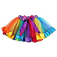 Kangrunmy_robe Jupe Fille Noel pour Enfant Princesse BéBé 1 2 3 4 5 6 7 8 9 Ans FêTe Costume Tutu Arc-en-Ciel Petti Skirt Bowknot Danse Performance Robe Dress Tulle Chic Dancewear Ballet LéGer