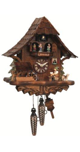 ISDD Cuckoo Clocks Reloj cucú Casa de la selva negra con bebedor de cerveza y rueda de molino que se mueven