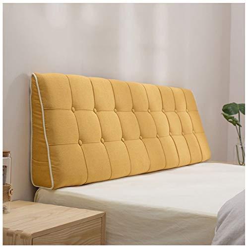 ze-Bett Lesekissen Wohnzimmer Sofa Abnehmbare Taille Kissen, Leinen Kopfteil Dreidimensionale Kissen Mehrere Größen Optional (Farbe : Gelb, größe : 200x50x15cm) ()