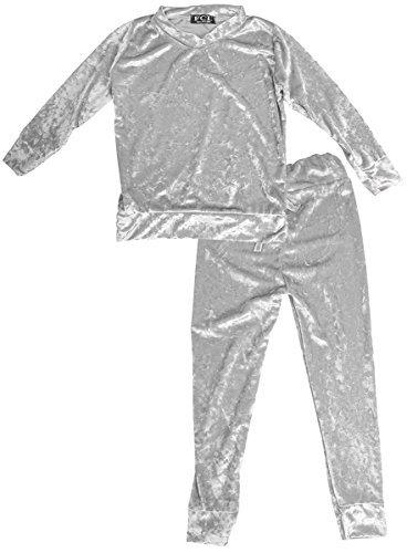 Mädchen gebrochen velours velvet Trainingsanzug Jogginganzug Kostüm Größen von 2 to 13 Jahre (5 Farben) - Silbern, 8 years (Velour Trainingsanzug Kostüm)
