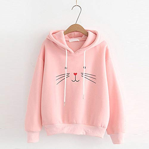Saingace Hoodie for Women, Women's Teen Girls Cotton Full Sleeve Cat Printing Hoodie Sweatshirt Hooded Pullover Tops Blouse (Pink, S)