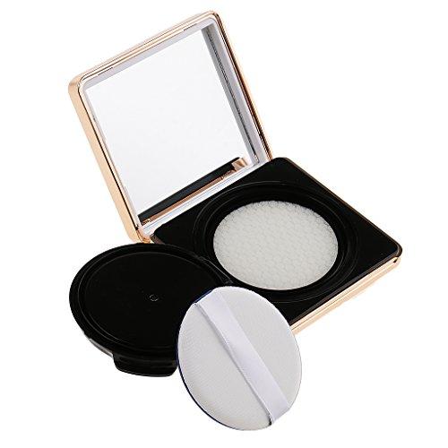 Sharplace Carrée Boîte de Maquillage avec Houppette Eponge Coussin d'Air et Miroir pour Bricolage de BB Crème, Poudre Fard à Joues, Correcteur - Blanc