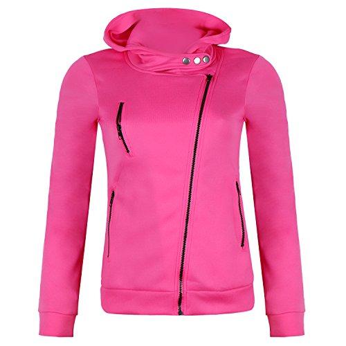 mttroli Frauen Wasserfallkragen Hoodies Mäntel Casual Long Sleeve Hoody Pullover Sweatshirt Reißverschluss Pocket XL / Bust 39.37