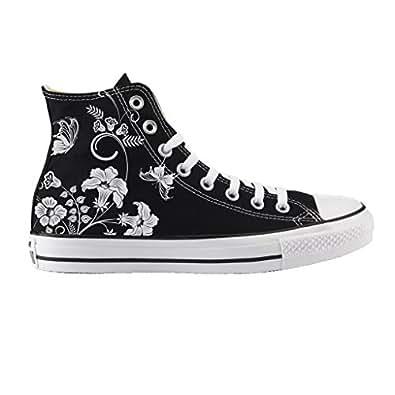 Converse Personalizzate All Star Alta NERA - scarpe artigianali - stampa FIORI PRIMAVERA