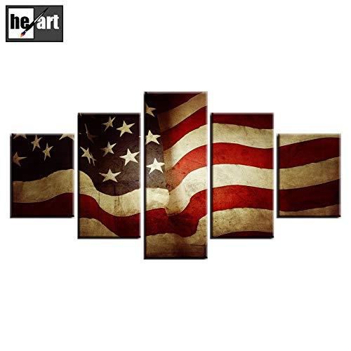 USA Flagge Leinwanddruck Wandbilder für Wohnzimmer American Eagle Tanks Unabhängigkeitstag Malerei 5 STÜCKE Gerahmte Poster und Drucke Giclée-Druck Galerie Wrap Kunstwerk Dekoration,3 -