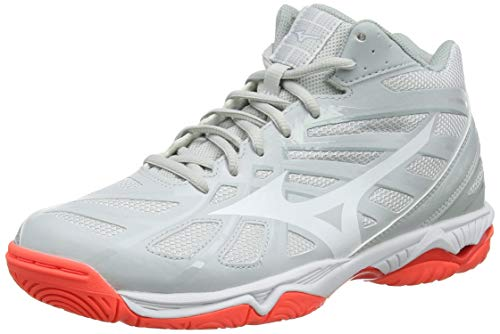 Mizuno Wave Hurricane 3 Mid, Scarpe da Pallavolo Unisex Adulti, Grigio (GlacierGray/DarkShadow/FieryCoral 60), 40 EU