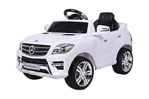 Mercedes ML 2x 30W Voiture Electrique pour Enfant avec Entrée MP3, Farbe:Weiß