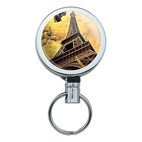 Metall Retractable Reel ID Badge Key Halter mit Gürtelclip Places und Dinge Eiffel Tower Paris Vintage