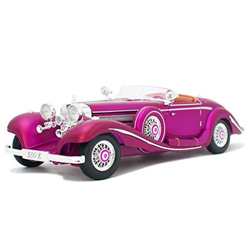 JBlaite Proportion 1:18 Mercedes-Benz 500k Druckguss Automodell Retro Oldtimer Legierung Modellauto Spielzeug Sammlung Display Geschenk Dekoration Modellauto (Color : Purple, Size : 29cm*11cm*8cm)