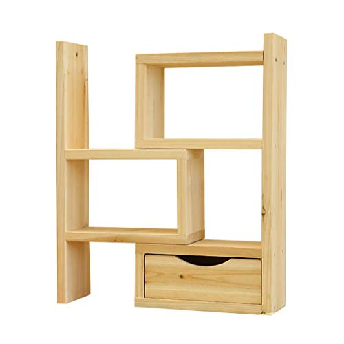 anzenlagerregal, aus Holz verstellbares Schreibtisch-Bücherregal mit Schublade für Office Home erweiterbar ordentlich Aufbewahrungs-Organizer Display Regal Counter Top Bücherregal ()
