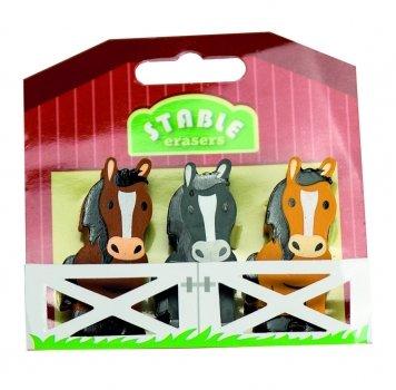 Radiergummi 3-er Set 3 Pferde im Stall