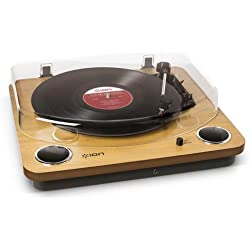 ION Audio Max LP - Platine Vinyle de Conversion avec Trois Vitesses et Enceintes Stéréo, Sortie USB, Sorties RCA et Sortie pour Casque Audio - Finition en Bois Naturel