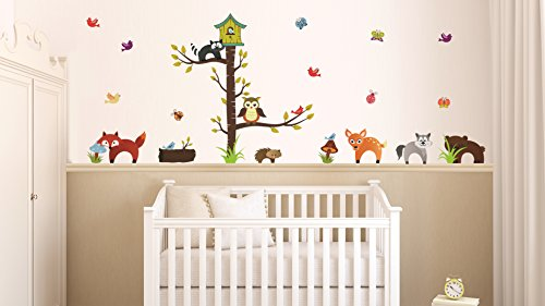Sticker für Wand – Wandtatoos für Kinderzimmer, Wohnzimmer, Schlafzimmer, Babyzimmer - Wanddeko Modern – 2 x 70x50cm Wandsticker Deko Set Folien Tiere des Waldes
