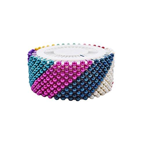 Kcopo Kopf Stecknadeln Kunststoff Pin Schneider Stecknadeln für Nähte Dressmakes Berry Pin Wheel Extralange Stecknadeln mit Kopf aus Kunststoff 12 bunte