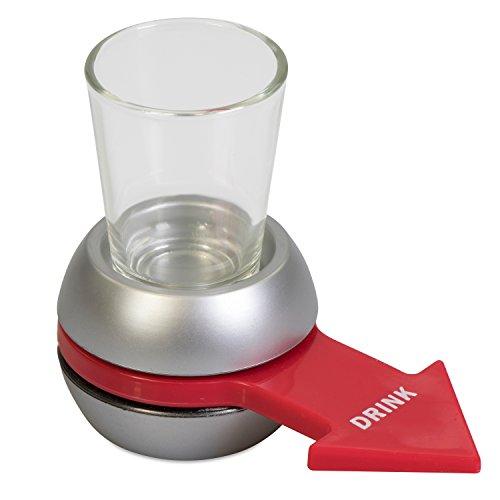 Grinscard Trinkspiel mit Schnapsglas und Untersatz - Silbern - Drehzeiger Saufspiel für Erwachsene Party und Urlaub