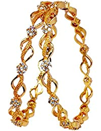 Micro Gold Plated Stone Studded Bangles /Kada With White Stones For Wedding Festival For Girls And Women
