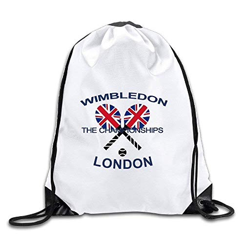 CHSUNHEY Turnbeutel,Sporttaschen,Wimbledon Vintage Crossed Rackets London Eco-Friendly Luggage Drawstring Backpack Bag