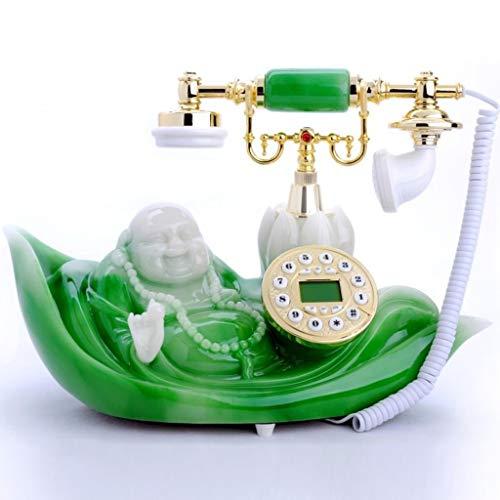 HBWJSH Smaragd-Jade-Buddha-Telefonanruf-Anzeige Festnetz Telefon Retro Festnetz (Anzeige Home Akzente)