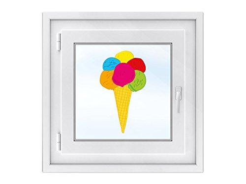 Fensterdeko - hochwertiges Fenster-tattoo | selbsthaftende Glasdekorfolie für Fenstergestaltung in Bad, Küche, Wohnzimmer u. Schlafzimmer | Tattoo leicht anbringbar | Fenstertattoo 22 x 40 cm - Eis