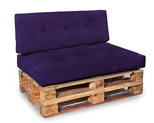 Easysitz Palettenkissen Set Geeignet für Indoor Palettensofa Palettenpolster Palettenauflagen Sofa Kissen Polster Auflage 120 x 80 cm Europaletten (Set 1: Sitzkissen + Rückenkissen - Lila)
