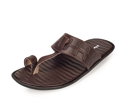 Khadim's Men's Brown Faux Leather Sandals - 8  available at amazon for Rs.341