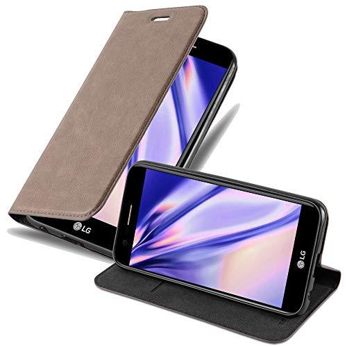 Cadorabo Hülle für LG K10 2017 - Hülle in Kaffee BRAUN - Handyhülle mit Magnetverschluss, Standfunktion und Kartenfach - Case Cover Schutzhülle Etui Tasche Book Klapp Style