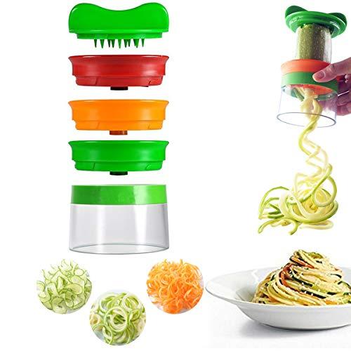 Premium 3 Klingen Gemüse Gemüsehobel Spiralschneider,mit dem man endlos Spaghetti Nudeln fertigen kann - enthält die Bürste für die Reinigung - Zucchini Spargelschäler, Gurkenschneider, Gurkenschäler, Möhrenreibe Möhrenschäler