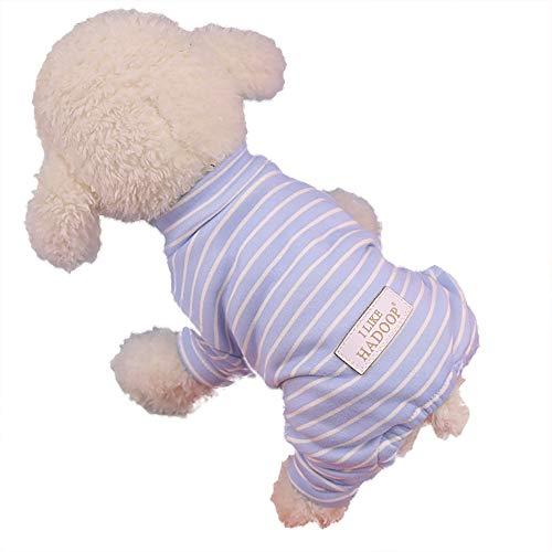 (GNYD Hund Haustier Winter Baumwollkleidung Gestreiftes Hemd mit Vier Beinen gestreift)