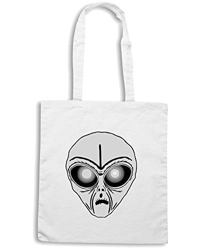 T-Shirtshock - Borsa Shopping FUN0547 alien head sticker 9 31423 Bianco