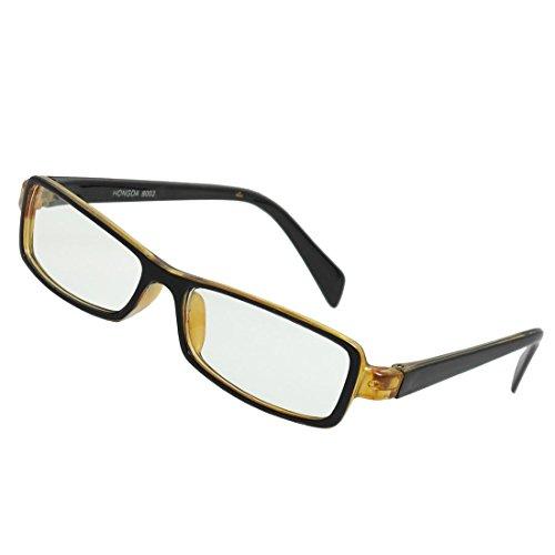 Schwarz Gelb Felgen Kunststoff Arme klare Linse Plano Brillen für Damen