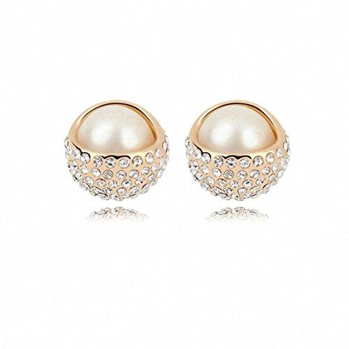 TAOTAOHAS Damen Modeschmuck OhrStücker Ohrringe mit Kristall Weiß 18K Gold Champagne, Perle Schönheit Nickelfrei