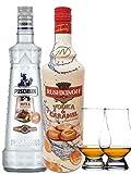 Puschkin Nuts & Nougat 0,7 Liter + Rushkinoff Caramel 1,0 Liter + 2 Glencairn Gläser