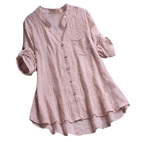 MDenker Bekleidung Frauen-Baumwollleinen Lange Bluse unregelmäßiger Rand Buttons lose beiläufige Weinlese-Spitzen-Hemd-Kleid-Weiß, rosa, schwarz