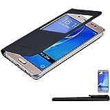 4in1 Delgado Funda con Ventana para - Samsung Galaxy J5 (2016) SM-J510 / J510F - Carcasa Flip Cover, en Negro + 1x Protector de pantalla + 1x Lápiz capacitivo