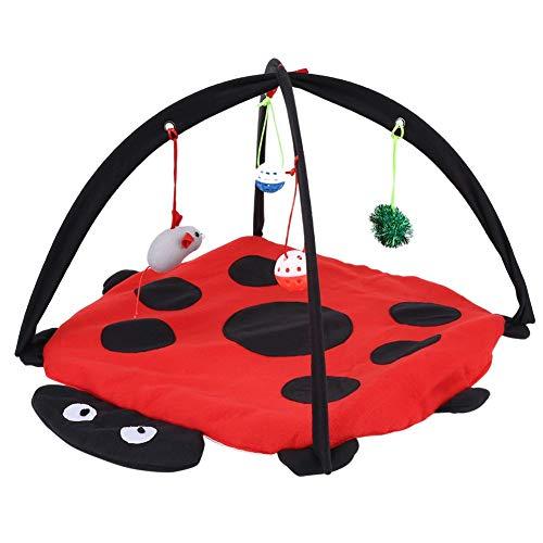 Fdit Katzen Spielmatte Spielzeug Kätzchen Spiel Zelt Kissen Aktivität gepolsterte Bett Faltbare Haus Katze Aktivität Center mit hängenden Spielzeugbällen Mäuse für Katzen Sport Aufenthalt -