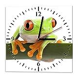 Ramix Glasuhr - FROG4 - Uhr aus Glas 30x30cm - Glasuhr mit Motiv - Wanduhr aus Glas - modern - Ausgezeichnete Dekoration für Küche, Wohnzimmer und Flur – Dekoration