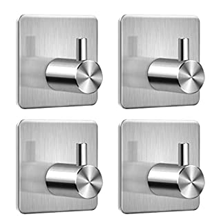 Self Adhesive Hooks, Key Coat Wardrobe Towel Office Strong Sticky Wall Hook, Bathroom Toilet Kitchen Waterproof and Rust-Proof Hook by Aeegulle (4 Pieces)