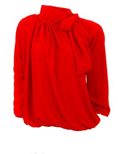 PINK BLACK Moda Italia Elegante Schlupfbluse Damen Bluse Aus Chiffon Schluppenbluse mit Steh, Schleifen Kragen Pump Bluse Tunika