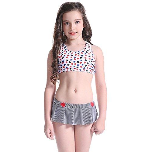 Bademode Bikini Stellen Sie ein Cosutmen 5-14 Jahre alt Kinder Schön Herzform Rock 2 Sätze Bademode Taucheranzug, 140 (Süße 2 Jahre Alt Kostüme)