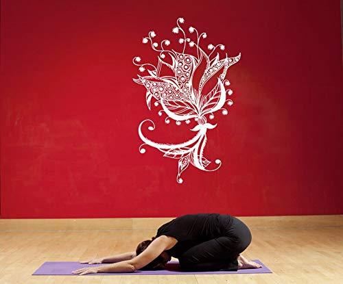 Ceciliapater 1024b - adesivo da parete o finestra, motivo: fiore di loto indiano, henné, tatuaggio, yoga