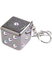 Mini cendrier / Cendrier de poche / Cendrier portable, alliage de zinc, en forme d'un dé, mousqueton, anneau porte-clés, support pour la cigarette, noir, 1618-02