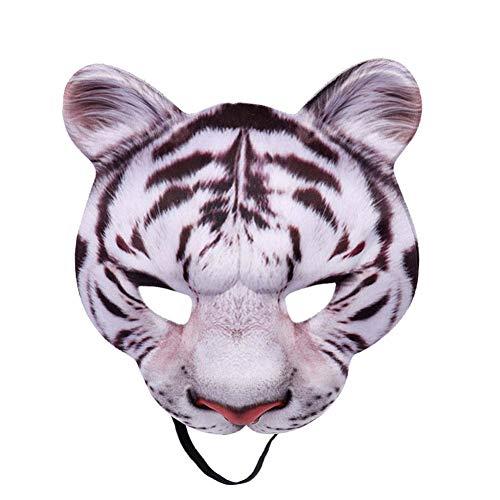 Tiger Kostüm White Zubehör - Gychee Halloween Cosplay Maske Halloween Party Dekorationen, Maskerade Cosplay Kostüm Karneval Zubehör Tiger Alle Gesichtsmaske Für Erwachsene Unisex