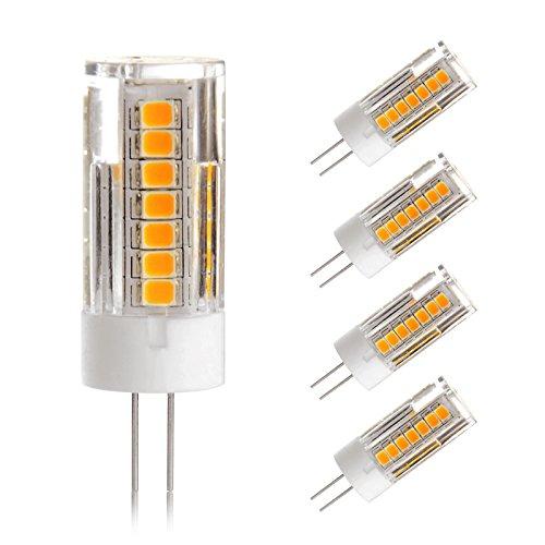 G4 LED Lampe- Ascher 4er pack G4 4W LED Lampe 45 SMD Leds - [300LM, Ersetzt 30W Halogen, WarmWeiß, AC/DC 12V,LED Leuchtmittel, 360° Abstrahlwinkel]