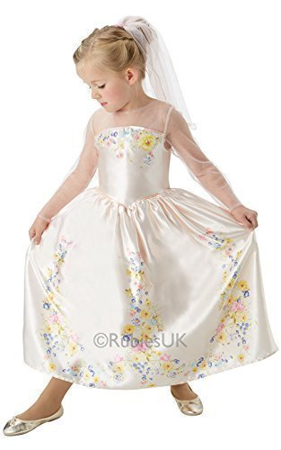 Fancy Me Mädchen Offiziell Disney Cinderella Hochzeit Braut Prinzessin Büchertag Kleid Kostüm Schuhe - Creme, Creme, 3-4 ()