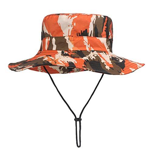 Sonnenhut für Frauen Männer/Skxinn Unisex Camouflage Sommer Outdoor Fischerhut,Strandhut UV Hut,Atmungsaktiv Safari Hut,Faltbar Wanderhut, Gartenhut, Boonie Buschhut Hiking Bucket Hat(Rot)