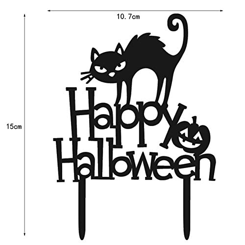 tz Katze Halloween Gruselige Kuchen Acryl Dekoration Happy Halloween Cake Picks für Party Halloween Tischkuchen Topper Dekoration, Schwarz, S ()