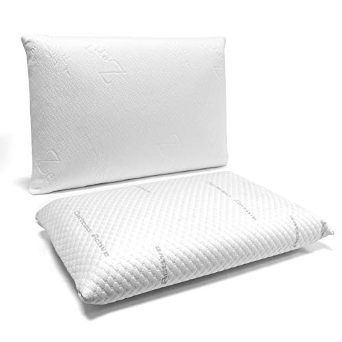 Cuscino In Memory Foam Certificato Oeko Tex.Zenpur 2 Pack Memory Foam Pillow 60 X 40 Cm Activated Carbon 100 Viscoelastic With Organic Bamboo Cover Orthopedic Pillow Oeko Tex Standard