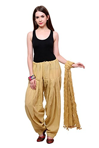 MRV FASHION Women's Patiala Bottoms(Mrv_patiala_dupatta_011 _Beige_Free Size)
