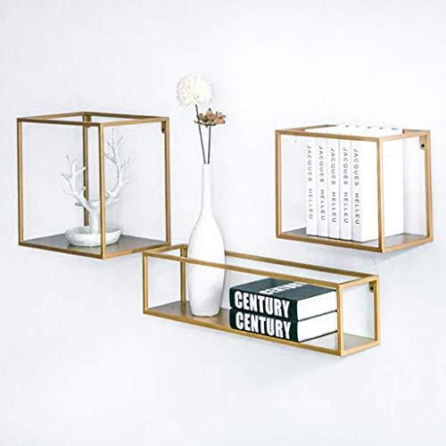 LXYPLM Wandboard Schweberegale, Metallwandwürfel Rack 3er-Set Wandbehang Aufbewahrung Display Regal Organizer Box (Color : Gold) -